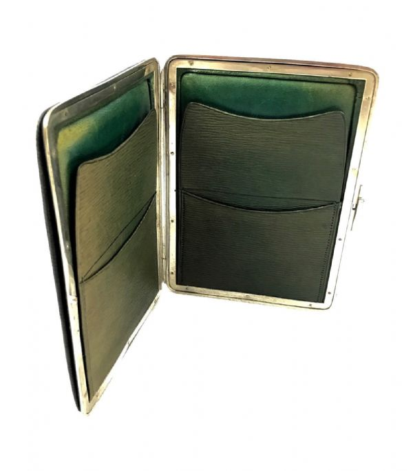 Antique Leather Gentleman's Wallet / Purse / Card Case / Edwardian / Green